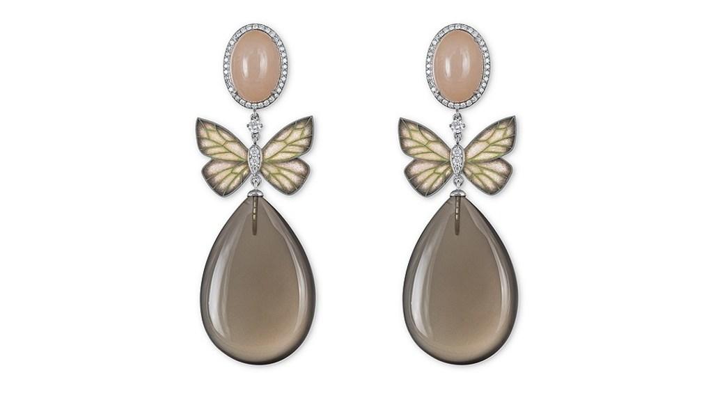"""Серьги """"Бабочки"""", золото, эмаль, розовый опал, кварц, Ilgiz F"""